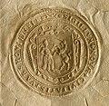 AGAD Akt sprzedaży ogrodu położonego na terenie Nowego Miasta Warszawy przy ulicy Zakroczymskiej, 1648 r. - pieczęć z herbem miasta..jpg