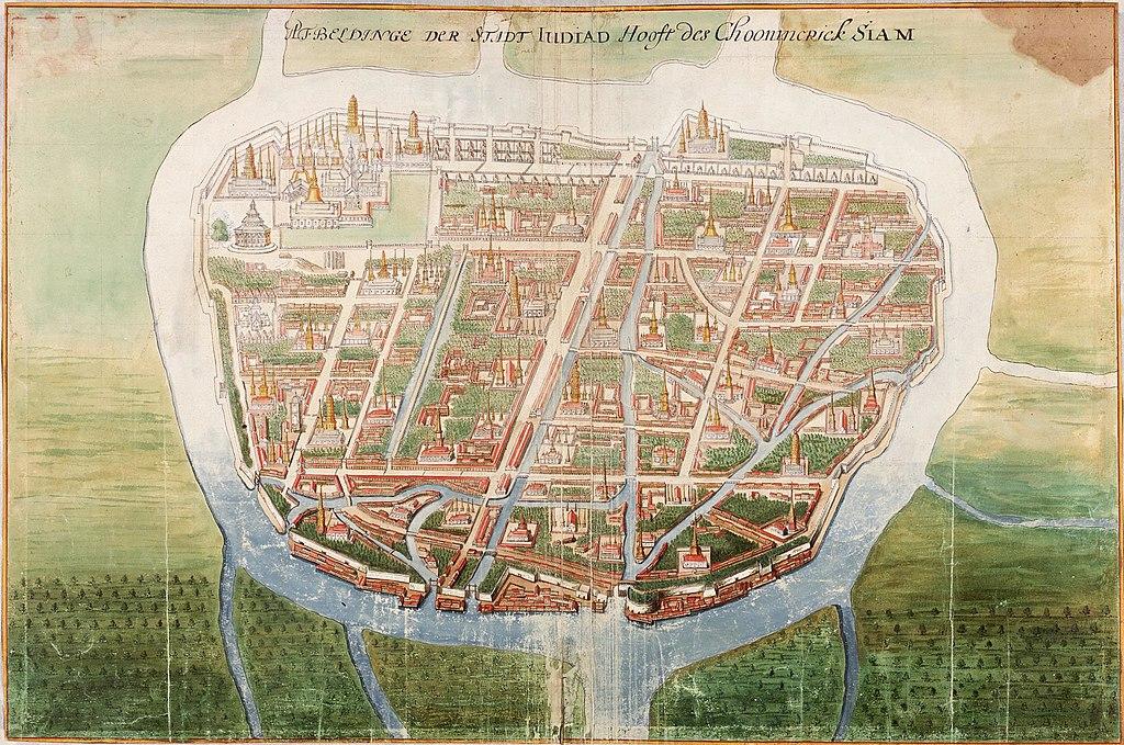 Carte d'Ayutthaya, la capitale du Siam vers 1665.