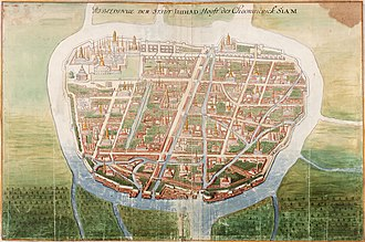 Ayutthaya Kingdom - Painting by Johannes Vingboons of Ayutthaya, c. 1665