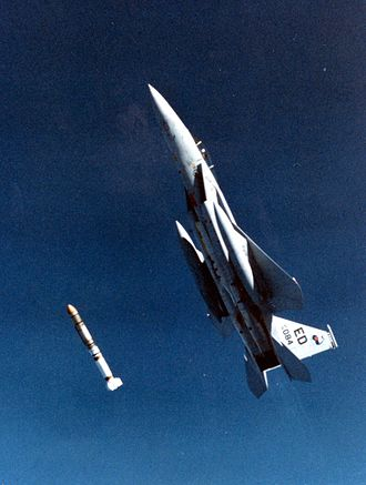 Space warfare - A USAF F-15 Eagle launching an ASM-135 ASAT (anti-satellite) missile in 1985.