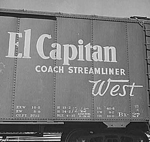 An advertisement for the El Capitan on the side of a Santa Fe boxcar seen in San Bernardino, California, in March 1943.