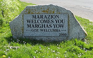 Marazion - Cornish language welcome sign.