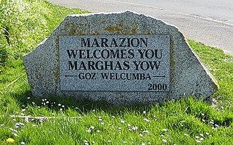 Marazion - Cornish language welcome sign.