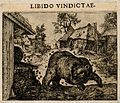 A bear overturns a barrel and is stung by bees; representing Wellcome V0007642ETR.jpg