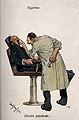 A dentist examining the teeth of a nervous patient, with ext Wellcome V0012113.jpg