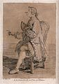 A man wearing a ribboned wig is sitting on a chair pointing Wellcome V0040052.jpg
