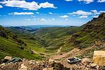 Lesotho-Economy-A vehicle on Sani Pass