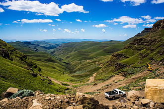 Sani Pass on the border is a popular tourist attraction. A vehicle on Sani Pass.jpg