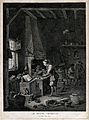 A young alchemist works a bellows at his furnace. Etching by Wellcome V0025546.jpg