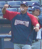 Aaron Boone, here as a member of the Washington Nationals in 2008, hit the walk-off home run to win the 2003 American League pennant for the Yankees. Boone is the current Yankees manager.