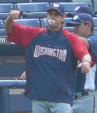 Yankees–Red Sox rivalry - Aaron Boone, here as a member of the Washington Nationals in 2008, hit the walk-off home run to win the 2003 American League pennant for the Yankees. Boone is the current Yankees manager.