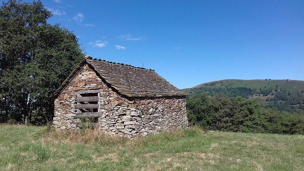 Maisonnette bâtie en pierres sèches, toiture en lauzes, servant autrefois d'abri pour les bergers. (Pomayrols-Aveyron-France).