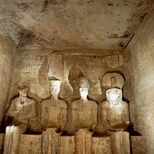 Four statues of divinities in sanctuary of Abu Simbel temples