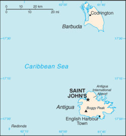 Location of St. John's in Antigua and Barbudaの位置図