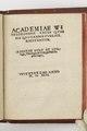 Academie Witebergensis leges..Bok tryckt 1546 - Skoklosters slott - 103697.tif