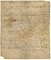 Acte de concession d une terre a Jean Mee dit du Meslier par Paul de Chomedey de Maisonneuve.jpg