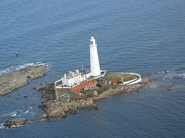 Aerial photo of St Mary's Island at high tide - geograph.org.uk - 654119.jpg