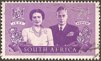 Monarchy of South Africa - Image: Af Sud stamp eng royal couple 1947