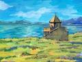 Agnes-Karikaturen-Armenia-Sewanawank-Lake-Sevan-Kloster.tif