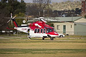 AgustaWestland AW139 (VH-SYZ) operated by Lloyd Off-Shore Helicopters for Ambulance Service of New South Wales as Rescue 24 at the Duke of Kent Oval Helipad (2).jpg