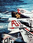 Aircraft tail fins on USS Independence (CV-62) c1977.jpg
