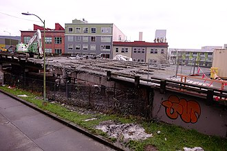 Alaskan Way Viaduct - Early demolition of viaduct at its north end in Belltown