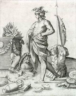 Agostino Veneziano - Engraving by Veneziano of Alcibiades