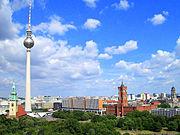 Alexanderplatz in Berlin, television tower, Red Town Hall.jpg