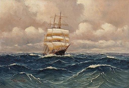 Dreimaster auf Hoher See by Alfred Jensen