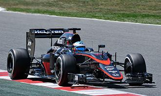 2015 Spanish Grand Prix - Local favourite Fernando Alonso's McLaren sporting the team's new, dark grey livery