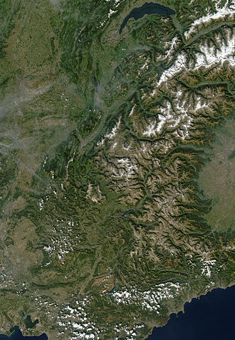 French Alps - NASA photo of the French Alps (26 Oct 2002).