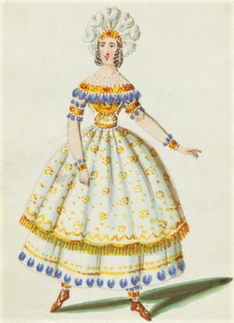 Alzira (opera) - Eugenia Tadolini's costume as Alzira for the 1845 premiere