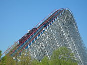 A train ascending American Eagle's lift hill