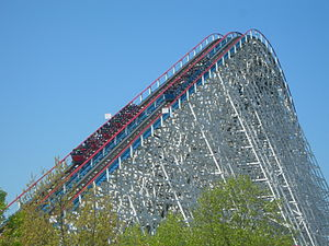 American Eagle (roller coaster) - Eagle's 127-foot-tall lift hill.