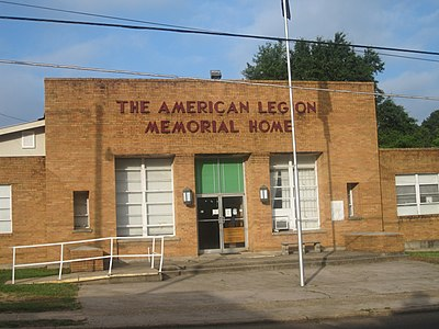 American Legion halls are found in cities both large and small, like this longstanding structure on Pine Street in Minden, Louisiana, which has for decades hosted military and civic events. American Legion Memorial Hall in Minden, LA IMG 3738.JPG