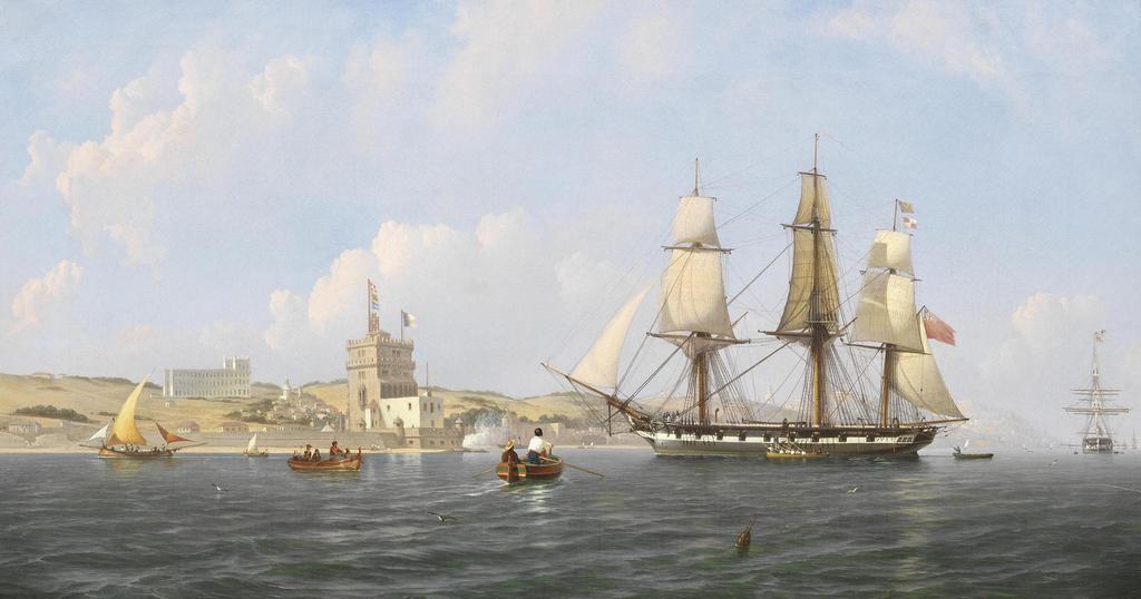 Peinture de de Giuseppe Schranz. Une frégate anglaise arrivant dans le Tage par la tour de Belém (19e siècle).