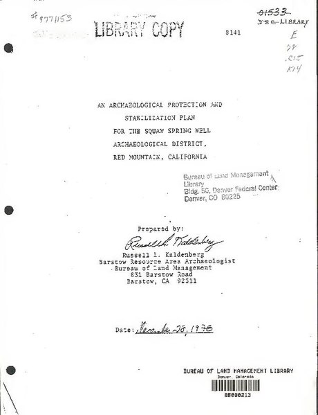 File:An archaeological protection and stabilization plan for the Squaw Spring Well Archaeological District, Red Mountain, California (IA archaeologicalpr00kald).pdf
