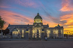 Ananta Samakhom Throne Hall in dawn on August 12th, 2017, on the occasion of Mother's Day in Thailand