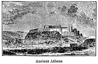"Achaemenid destruction of Athens - ""The Citadel at Athens"" at the time of Xerxes (1900 reconstitution)."