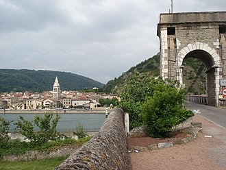 Andance - View of Andance from Andancette, across the Rhone River and the Marc Seguin Bridge