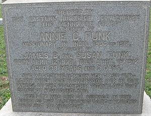 Annie Funk - Annie Funk's memorial grave stone erected near Bally, Pennsylvania
