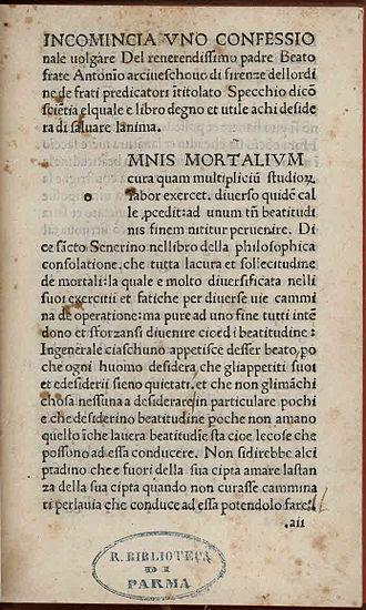 Antoninus of Florence - Confessionale, circa 1488-1490