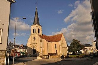 Ardentes - The church and the Place de la République, in Ardentes