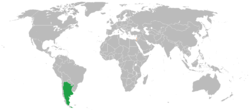 Map indicating locations of Argentina and Israel