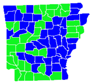 United States Senate election in Arkansas, 2010 - Lincoln counties in blue, Halter counties in green.