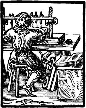 Cross-hatched illustration of a bookbinder at a desk working with a sewing press.