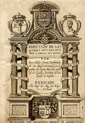 "Juan Pablo Bonet, Reducción de las letras y arte para enseñar a hablar a los mudos (""Reduction of letters and art for teaching mute people to speak"") (Madrid, 1620)"