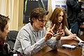 Arthur Darvill, Matt Smith, Karen Gillan at Doctor Who BBCAmerica Signing.jpg