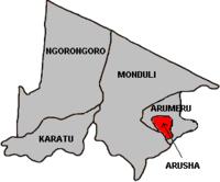 Arushadistriktets beliggenhed i regionen.