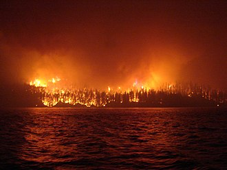 2017 British Columbia wildfires - Ashcroft Reserve wildfire burning at Loon Lake, BC